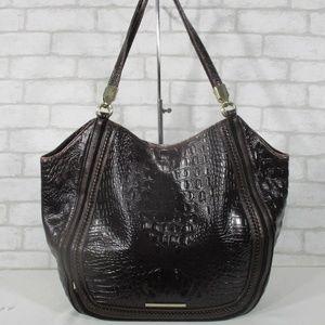 Large Brahmin Croc Embossed Leather Shoulder Bag